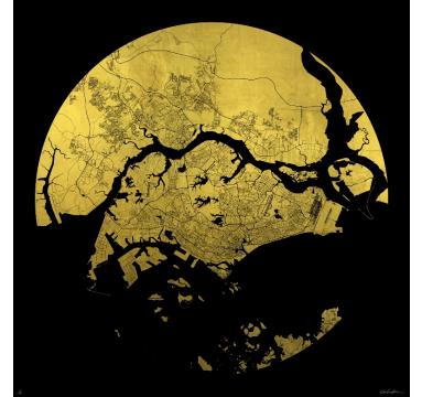 Ewan David Eason - Mappa Mundi Singapore (black) - courtesy of TAG Fine Arts