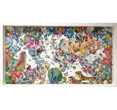 Kristjana S Williams - Peacock and Tigers World Map - courtesy of TAG Fine Arts