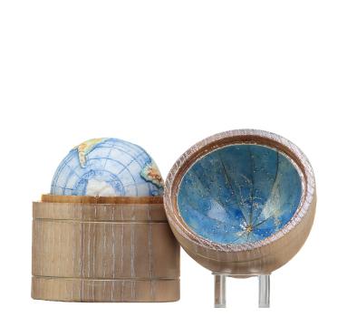 Land and Sea (Natural Oak Desk Case with Cobalt Celestial Interior)