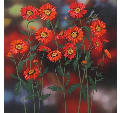 Sumiko Seki - Bee & Red Daisy - courtesy of TAG Fine Arts