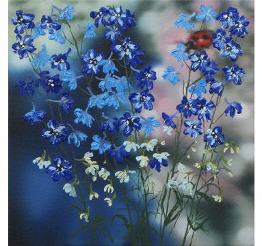 Sumiko Seki - Ladybird & Blue Delphiniums  - courtesy of TAG Fine Arts