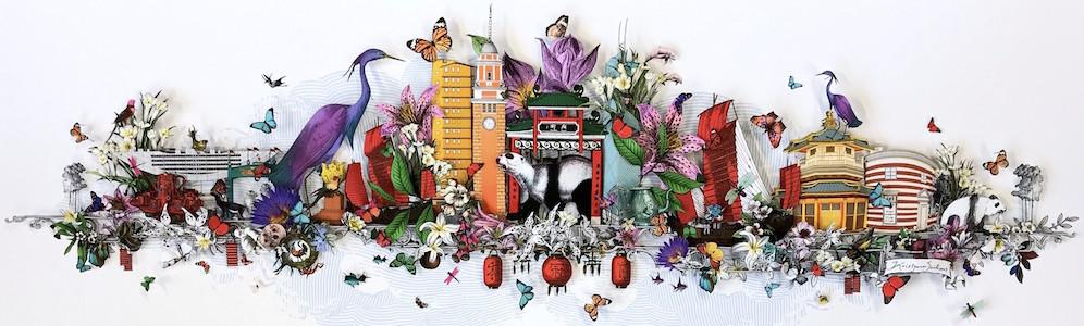 Kristjana S Williams - Ruby Crane Hong Kong Skyline - courtesy of TAG Fine Arts