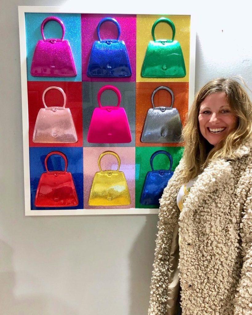 Debra next to her work, Glitterati 2