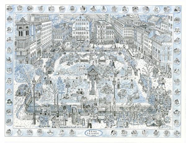 Adam Dant - Soho Square - courtesy of TAG Fine Arts